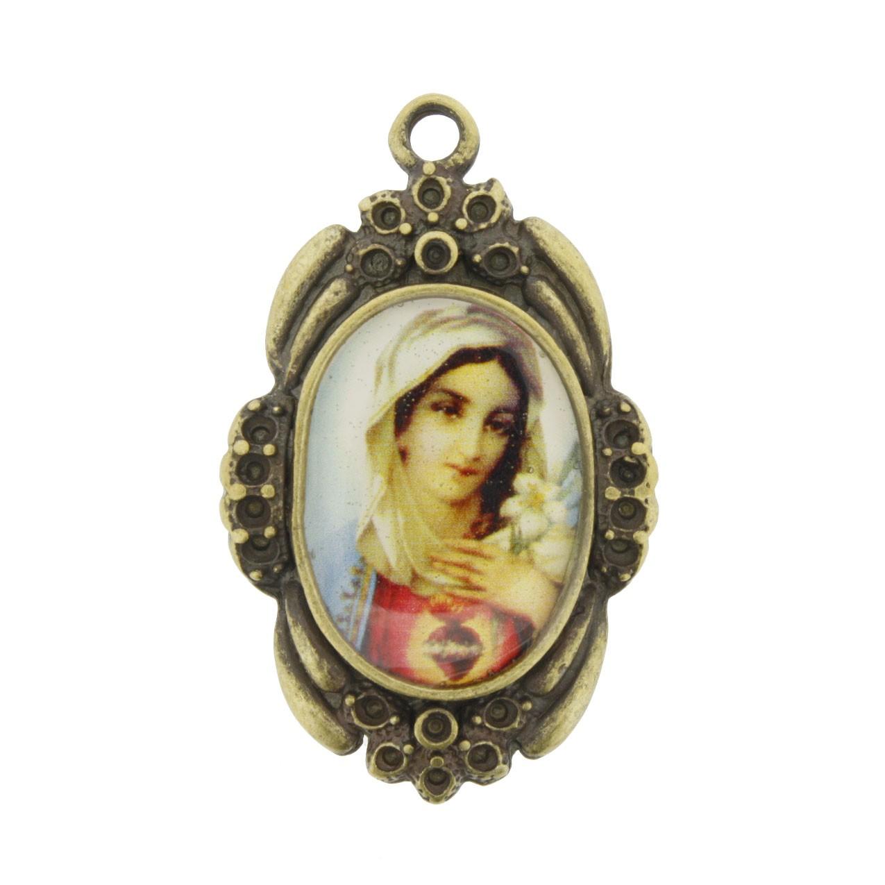 Sagrado Coração de Maria - Ouro Velho e Resina - 42x26mm  - Universo Religioso® - Artigos de Umbanda e Candomblé