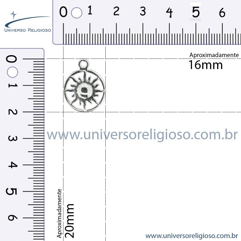 Sol - Níquel - 20mm  - Universo Religioso® - Artigos de Umbanda e Candomblé