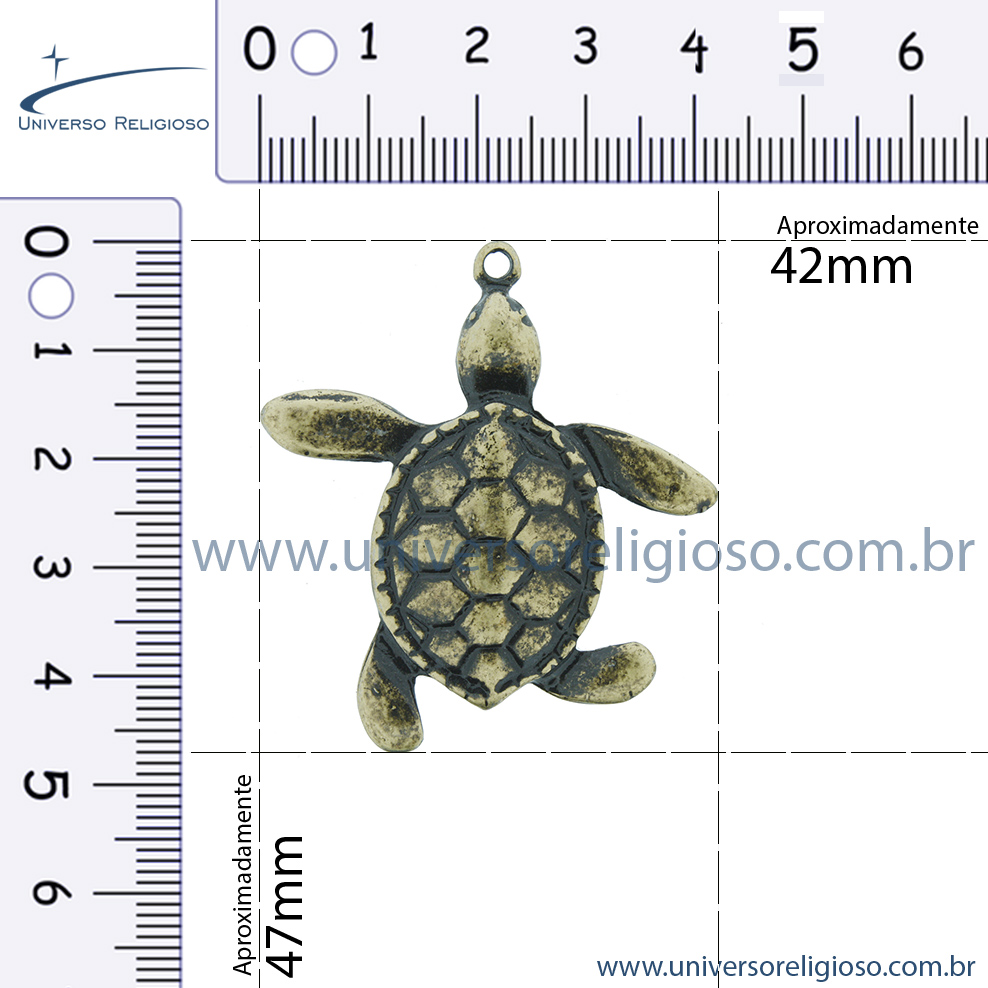 Tartaruga - Dourada - 47mm  - Universo Religioso® - Artigos de Umbanda e Candomblé
