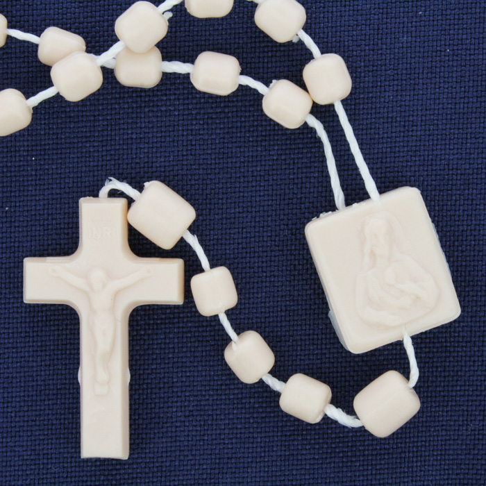 Terço de Plástico - Bege - 35cm  - Universo Religioso® - Artigos de Umbanda e Candomblé