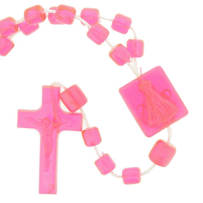 Terço de Plástico - Pink Transparente - 35cm  - Universo Religioso® - Artigos de Umbanda e Candomblé