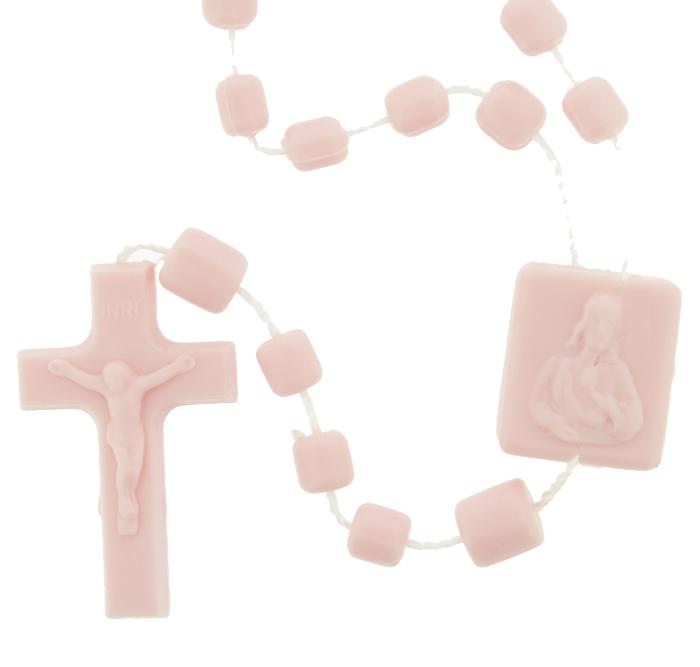 Terço de Plástico - Rosa - 35cm  - Universo Religioso® - Artigos de Umbanda e Candomblé