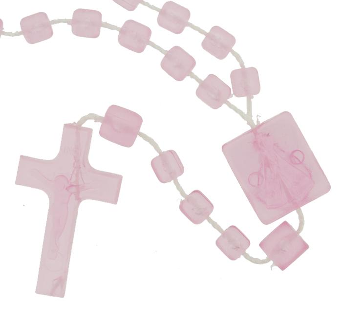Terço de Plástico - Rosa Transparente - 35cm  - Universo Religioso® - Artigos de Umbanda e Candomblé