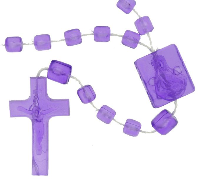 Terço de Plástico - Roxo Transparente - 35cm  - Universo Religioso® - Artigos de Umbanda e Candomblé