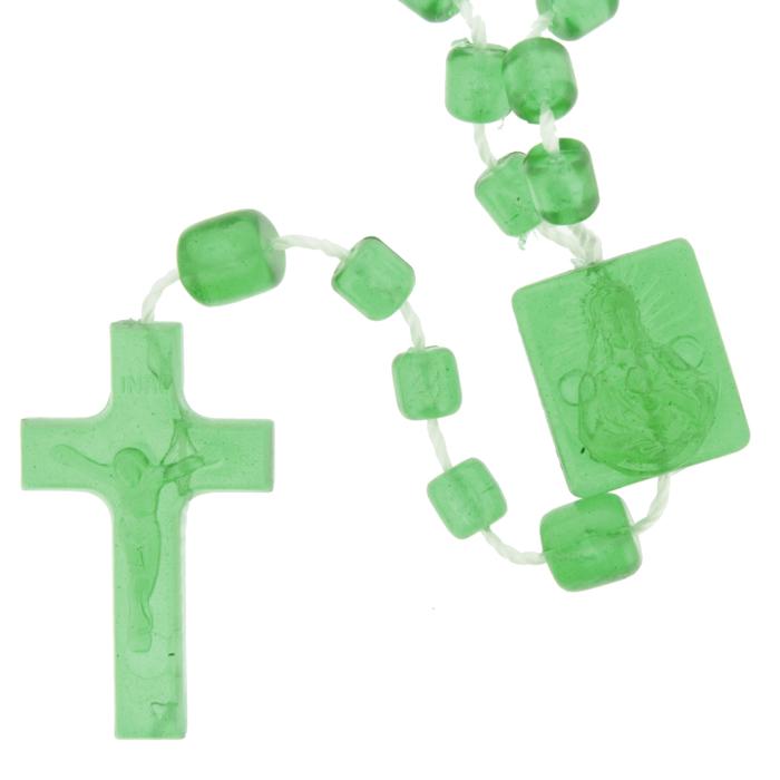 Terço de Plástico - Verde Transparente - 35cm  - Universo Religioso® - Artigos de Umbanda e Candomblé