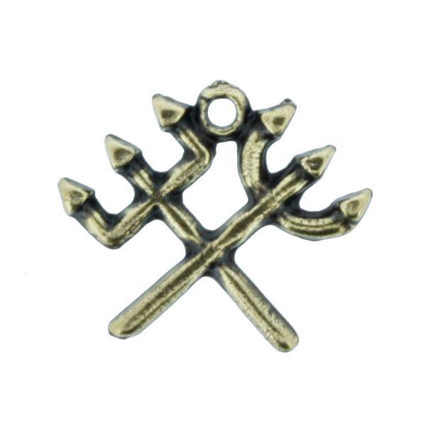 Tridente Duplo - Ouro Velho - 16mm  - Universo Religioso® - Artigos de Umbanda e Candomblé