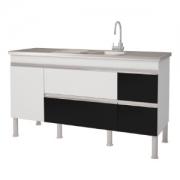 Gabinete 1,50m para Cozinha Branco/Preto Prisma MGM
