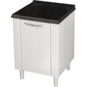 Gabinete Branco para Lavanderia em Aço Flat com Tanque Preto 50cm Cozimax