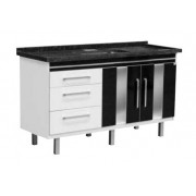 Gabinete Branco/Preto para Cozinha Evidence 1,44m Locatt