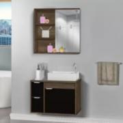 Kit Gabinete + Armário para Banheiro Veneto 60cm com Tampo de Vidro Avelato/Preto MM