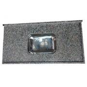 Pia em Granito Ocre Itabira Standard com Cuba Inox 150x0,56m LG Granitos