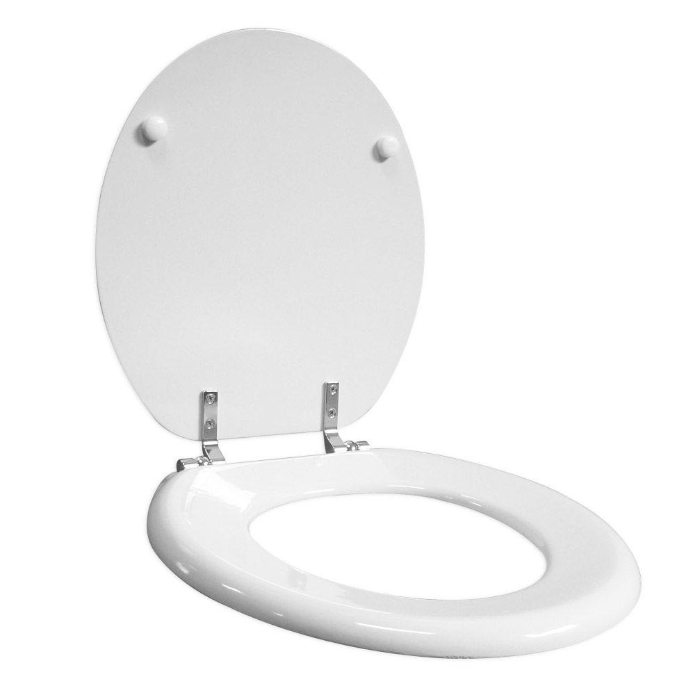 Assento Oval em Madeira Moldada Classic Branco  - Comercial Tuan Materiais para Construção