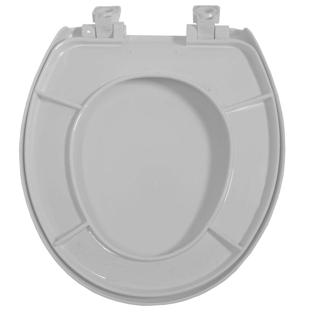 Assento Oval em Polipropileno Evolution Soft Close Cinza Claro/Prata  - Comercial Tuan Materiais para Construção