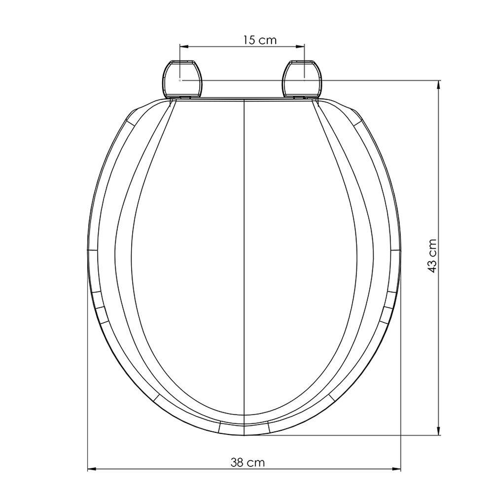 Assento Oval em Polipropileno Exportação Plus Cinza Claro/Prata  - Comercial Tuan Materiais para Construção