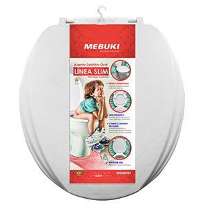 Assento Sanitário Oval Línea Branco Slim Mebuki  - Comercial Tuan Materiais para Construção
