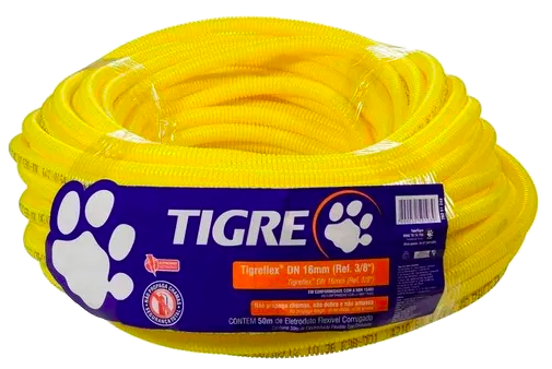 Conduite Amarelo Corrugado Tigre  - Comercial Tuan Materiais para Construção