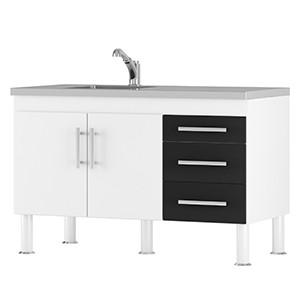 Gabinete para Cozinha Branco/Preto Flex MGM  - Comercial Tuan Materiais para Construção