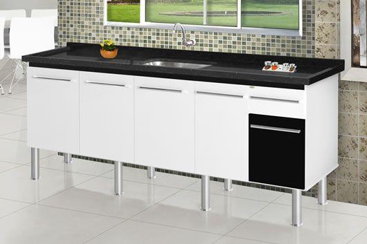 Gabinete 1,50m Parise Branco/Preto MM  - Comercial Tuan Materiais para Construção