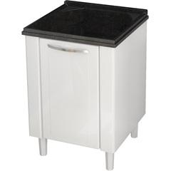 Gabinete Branco para Lavanderia em Aço Flat com Tanque Preto 50cm Cozimax  - Comercial Tuan Materiais para Construção