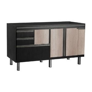 Gabinete Branco/Preto para Cozinha 1,44m New Elegance Locatt  - Comercial Tuan Materiais para Construção