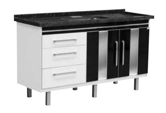 Gabinete Branco/Preto para Cozinha Evidence 1,44m Locatt  - Comercial Tuan Materiais para Construção