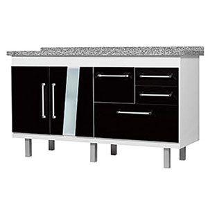 Gabinete Branco/Preto para Cozinha Versátil 1,44m Locatt  - Comercial Tuan Materiais para Construção