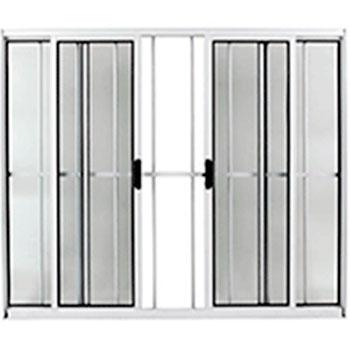 Janela 100x150 com Grade 4 Folhas Alumínio Brilhante Facce  - Comercial Tuan Materiais para Construção