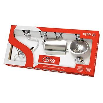 Kit Acessórios Certa Cromado 5 peças Steel  - Comercial Tuan Materiais para Construção