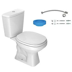 Kit Bacia Branca 3/6 litros Aspen com Caixa Acoplada + Assento + Conjunto de Fixação Flexível e Anel de Vedação Deca  - Comercial Tuan Materiais para Construção