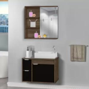 Kit Gabinete + Armário para Banheiro Veneto 60cm com Tampo de Vidro Avelato/Preto MM  - Comercial Tuan Materiais para Construção