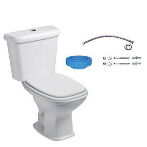 Kit Bacia Branca 3/6 litros com Caixa acoplada, Assento, Engate, e Anel de Fixação Like Celite  - Comercial Tuan Materiais para Construção