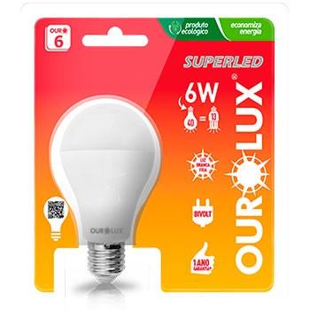 Lâmpada Super Led 40 6W Ouro Bivolt Ourolux  - Comercial Tuan Materiais para Construção
