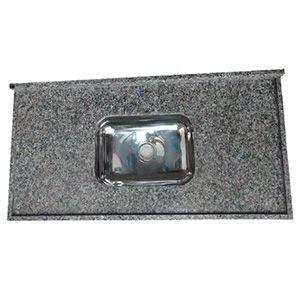 Pia em Granito Ocre Itabira Standard com Cuba Inox 150x0,56m LG Granitos  - Comercial Tuan Materiais para Construção