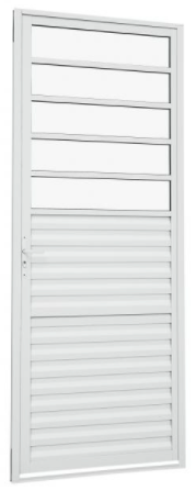 Porta de Abrir 217x087 Veneziana com Divisão Horizontal Alumínio Alumislim Sasazaki  - Comercial Tuan Materiais para Construção