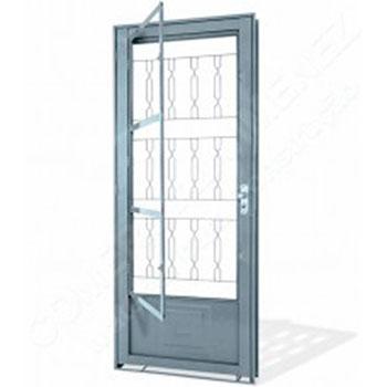 Porta de Giro de Aço com Postigo e Grade Mosaico Lucasa  - Comercial Tuan Materiais para Construção