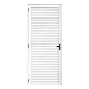 Porta Palheta de Alumínio Branca 210x80cm D/E com Vidro Esquadrivax  - Comercial Tuan Materiais para Construção