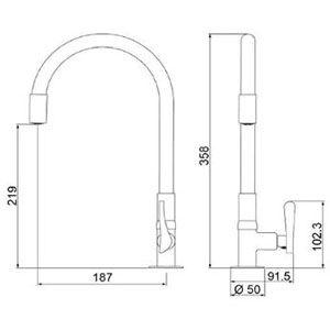 Torneira de Mesa Bica Flexível Lorenflex Red 1177 R27 Lorenzetti  - Comercial Tuan Materiais para Construção