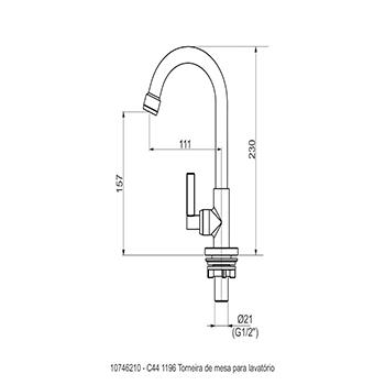 Torneira de Mesa para Lavatório DN 15 Linha Mais - Perflex  - Comercial Tuan Materiais para Construção