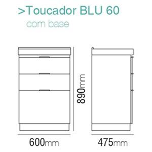 Toucador Blu Line 60 Grigio (gaveta espehada) Bumi  - Comercial Tuan Materiais para Construção