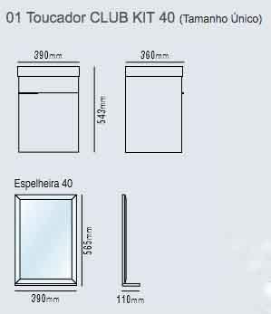 Toucador Club Kit 40 Branco Bumi  - Comercial Tuan Materiais para Construção