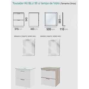 Toucador Kit BLU 50 Grigio (vidro c/ Furo Incolor) Bumi  - Comercial Tuan Materiais para Construção