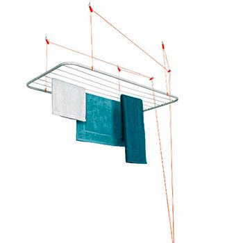 Varal de Teto Aço 120x56cm Branco Maxeb  - Comercial Tuan Materiais para Construção