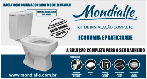Bacia Branca 3/6 litros com Caixa Acoplada + Kit de Instalação Completo Hawaii Mondialle  - Comercial Tuan Materiais para Construção