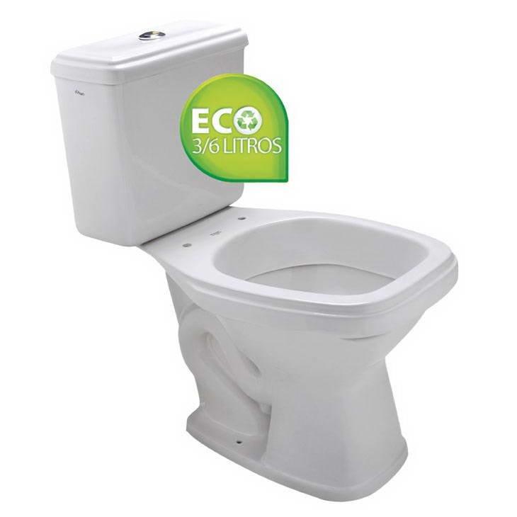 Vaso Sanitário Branco com Caixa Acoplada Prímula Plus Eco Fiori  - Comercial Tuan Materiais para Construção