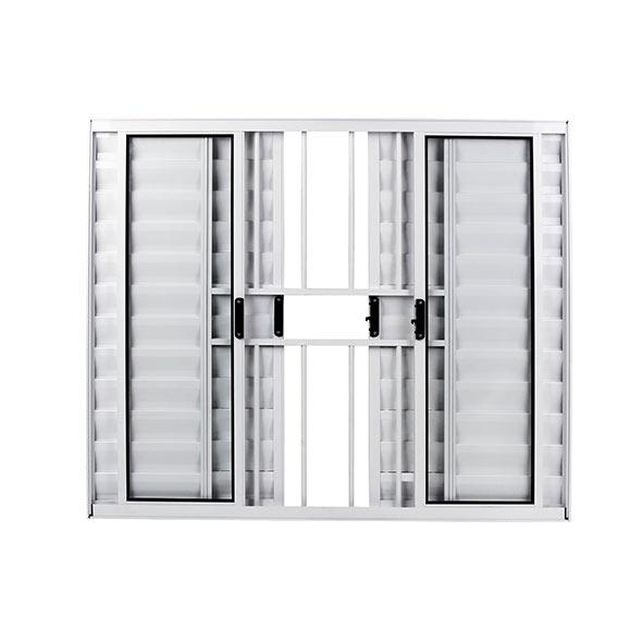 Veneziana com Grade 6 Folhas Alumínio Brilhante com Vidro Liso Facce  - Comercial Tuan Materiais para Construção