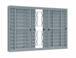 Veneziana de Correr Central de Aço com 6 Folhas com Grade Mosaico Lucasa  - Comercial Tuan Materiais para Construção