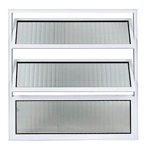 Vitrô Basculante 60x60cm em Alumínio Branco com Vidro Canelado Ref.120 Facce  - Comercial Tuan Materiais para Construção
