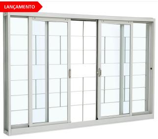 Vitrô de Correr 4 Folhas com Grade Branco Kompacta Sasazaki  - Comercial Tuan Materiais para Construção