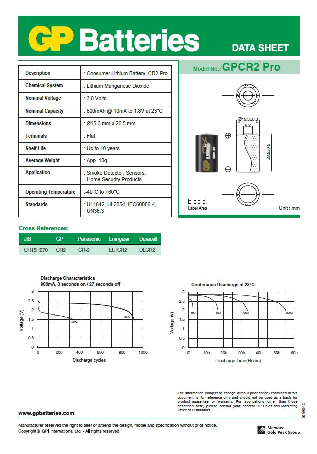 01 Pilha GP SUPER CR2 3V Bateria Lithium Foto 1 cartela