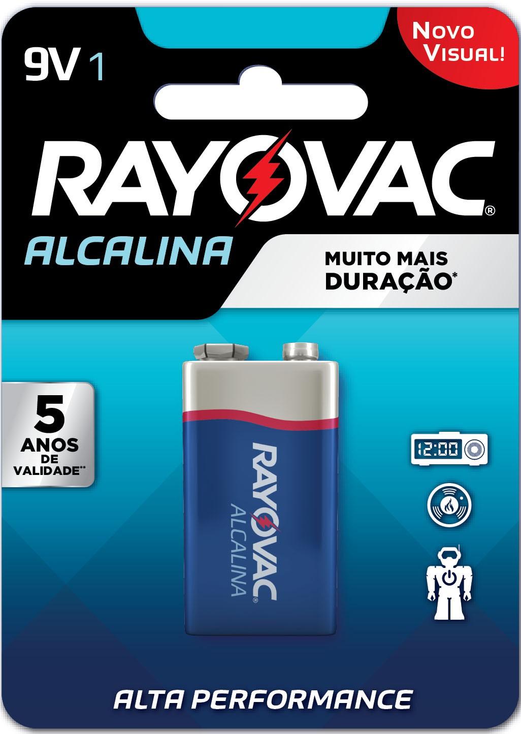 01 Pilha Bateria 9V Alcalina RAYOVAC - 01 cartela com 1 unidade